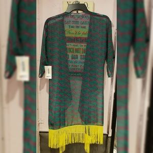 LuLaRoe Tops - Lularoe pink and green monroe fringe duster